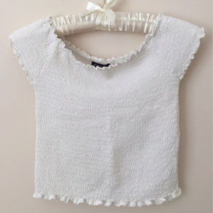 Brandy Smocked Off Shoulder Crop Top